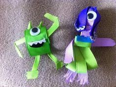 Monsters Inc. Ribbon Hair Bows, Bow Hair Clips, Ribbon Art, Ribbon Crafts, Disney Hair Bows, Ribbon Sculpture, Hair Creations, Diy Hair Accessories, Baby Bows