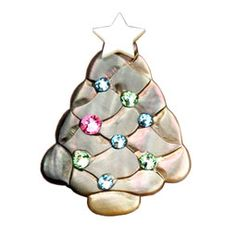 Mother of Pearl Swarovski Elements Star Christmas Tree Brooch