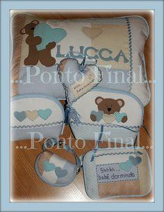 ...Kit em patchwork e aplicações para menino...