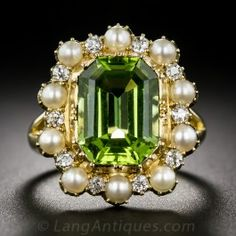 Victorian Peridot, Pearl and Diamond Ring