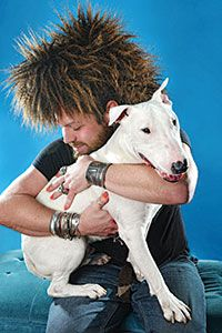 Zito-the bull terrier, with owner Jason Vanity Adams~ Photo Cred: Shane Wynn