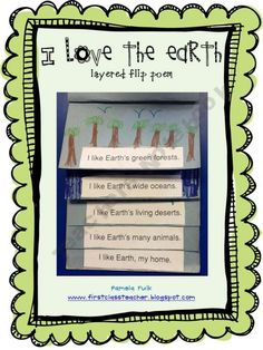 free printable earth day poem,  lift the flap