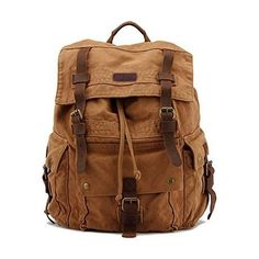 Mens Canvas Backpack Leather Large School Bag Travel Rucksack Backpacks Brown | Clothing, Shoes & Accessories, Men's Accessories, Backpacks, Bags & Briefcases | eBay!