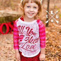 Kids All You Need Is Love Raglan from krystylstrendyfinds@yahoo.com for $20.00