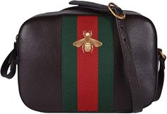 7f809f5eb7a7 Amazon.com: Gucci Women's Leather Red Green Web BEE Crossbody Handbag  (Brown): Shoes