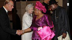 President Goodluck Ebele Azikiwe Jonathan, Patience Jonathan, Queen Elizabeth II (Elizabeth Alexandra Mary) and Prince Charles