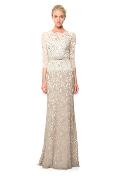 Lace Boatneck ¾ Sleeve Gown with Grosgrain Ribbon Belt | Tadashi Shoji