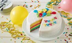 Regenbogentorte Rezept: Eine wunderschöne Torte mit einer weißen Schokoladencanache - Eins von 7.000 leckeren, gelingsicheren Rezepten von Dr. Oetker!