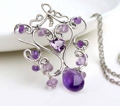 Wire wrap amethyst necklace sterling silver by CreativityJewellery, $165.00