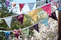 Super Long Bright Colorful Photo Prop, Wedding Decoration.  Med. Sized Flags, 25' Long Garland Bunting, Featuring Designer Cotton Fabrics.. $125.00, via Etsy.
