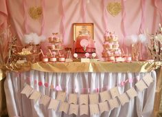 Pink and gold girl birthday party dessert table and backdrop! See more party planning ideas at CatchMyParty.com!