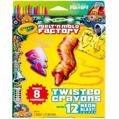 Crayola Melt 'n Mold Factory Twisted Crayons, Neon Blast Pack