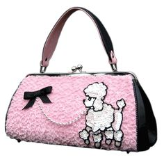 Pink Black Poodle Purse Too Cute French Poodles