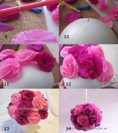 Manualidades Flores de papel ramo centro redondo esfera para colgar decoracion rosa rojo +++ red pink paper flowers hanging  pom pom