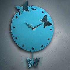 """17""""H Modern Butterfly Design Metal Wall Clock – GBP £ 33.01"""