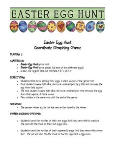 This Easter themed math game has students use dice to remove easter eggs from a coordinate graph.  The game is fun and engaging and a student favori...