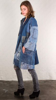 SilkDenims Oh Yoko Coat Made From 100 Recycled Denim by SilkDenim Fashion Jeans, Artisanats Denim, Denim Mantel, Mode Jeans, Denim Ideas, Denim Crafts, Denim Outfit, Refashioning, Coat
