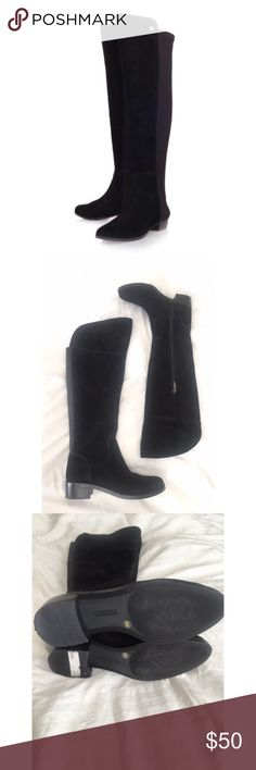 Vince Camuto Black Suede Over the Knee Boots Vince Camuto Black Suede Over the Knee Boots Sz 6. Genuine leather. Worn once. Please see last pic-on the inner area, there's a marking/discoloration? You can't see it at all when wearing them over the knee. Vince Camuto Shoes Over the Knee Boots