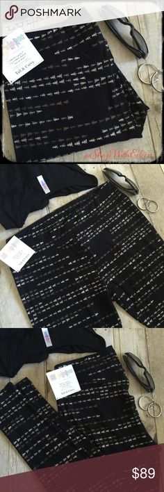 LulaRoe ARROWS TREES BLACK TC Leggings!  LulaRoe ARROWS TREES BLACK TC Leggings! It's pretty safe to say that pretty much everybody wants these leggings! SUPER POPULAR! Black background with white and khaki arrows or Pinetree's! The pair that I have I will be wearing on Christmas day with a comfy black shirt and a long black Sarah! SO CUTE! AHMAZING! Fabulous print! Made in Indonesia. * I am not a LulaRoe consultant… I am simply an addict looking for all of these fabulous hard to find…