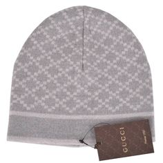NEW Gucci 281600 Men's 100% Wool Diamante Silver Grey Beanie Skull Ski Hat #Gucci #Beanie
