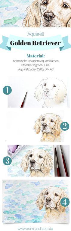 Schritt für Schritt: Hund malen in Aquarell | Portrait | Zeichnen | DIY | Tipps | Anleitung | kreativ | Kunst | Tierportrait | Hunde | Golden Retriever