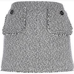 White boucle knit pocket trim mini skirt