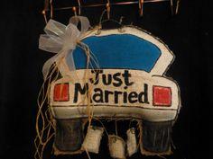 Burlap Just Married Door Hanger by SimplyStunningDoors on Etsy, $15.00