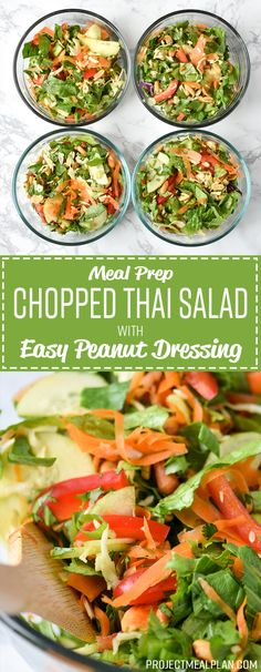 Meal Prep Chopped Thai Salad with Easy Peanut Dressing - Simple Thai-inspired chopped salad with a creamy peanut dressing recipe - Perfect to meal prep for the week! Make this healthy chicken salad and enjoy all week. Lunch Recipes, Salad Recipes, Vegetarian Recipes, Cooking Recipes, Healthy Recipes, Vegan Meals, Thai Recipes, Thai Salads, Healthy Salads
