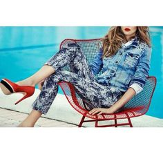 Jeans jacket and printed trousers