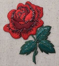 Iron On Embroidered Applique Patch Large Single Red Rose Green Leaves