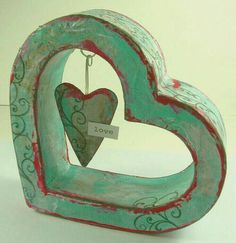 Heart dangling from a hollow heart, home decor piece. Kanazawa, I Love Heart, Happy Heart, Arte Country, Heart Images, Felt Hearts, Blue Hearts, Heart Art, Color Of Life