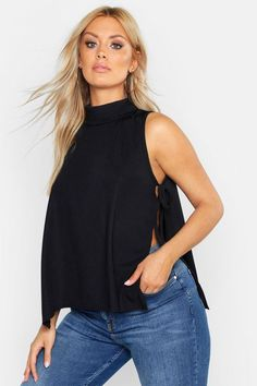 Womens Plus Rib High Neck Tie Side tank Top - black - 20 Pop Fashion, Fashion Outfits, Tank Top Outfits, Best Tank Tops, Latest Tops, Black Side, Bustier, Black Tank Tops, Mannequin