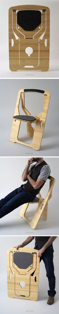 Folding Chair for Leo Salom - .- Folding Chair par Leo Salom – Folding Chair for Leo Salom – # DIY spaces - Ikea Chair, Diy Chair, Space Saving Furniture, Furniture Making, Chair Design, Furniture Design, Furniture Ideas, Wood Joinery, Cnc Projects