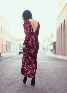 Red Sequin Long Evening Cocktail Dress - Mary Louise. $165.00, via Etsy.