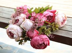Artificial Peony Bunch 47cm/18.5 Inch Silk Flowers Simulation European Peony Flower With Hydrangea Flower For Wedding Centerpieces Decor From Xiaorong2010, $7.54 | Dhgate.Com