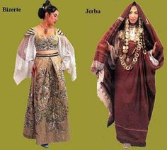 Traditional clothing of Bizerte (a city in North Tunisia, the northernmost city in Africa) and Jerba (an island that belongs to the Tunisian territory)