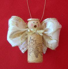 Caroling Cork Angels / set of 3 by judystephenson on Etsy