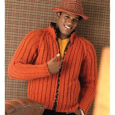 Zippered #crochet men's sweater pattern for sale from VogueKnitting