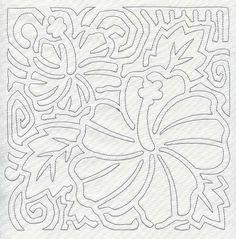Mola Hibiscus Quilting Square (Single Run)