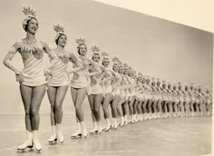 """the glamour-""""icers,"""" figure skating chorus line, holiday on ice 1955."""