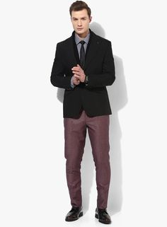Wine in colour, these formal trousers from Blackberrys are especially designed to bring together casual styling with charming vibes, with their classic four pocket and slim silhouette. These have a flat front and a zip fly and button closure that provides the utmost comfort as well as gives it a boost of style. These trousers can be teamed with a grey shirt and a pair of black shoes.