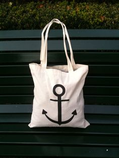 """cotton bag """"anchor"""" on Etsy, $16.92"""