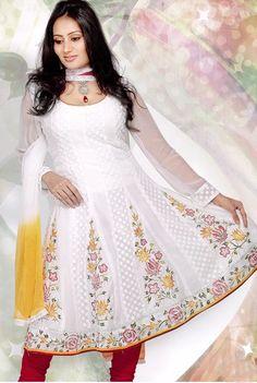 Anarkali Churidar White Salwar Kameez