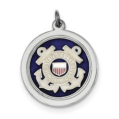 Sterling Silver Rhod-plated US Coast Guard Disc XSM148