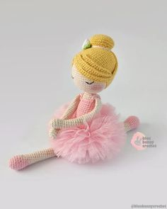 Jennie from the series of Mini Ballerina Doll, Amigurumi Crochet Doll Pattern. This is a DOWNLOADABLE TUTORIAL. Written in English, using Us terminology. Materials • 2mm crochet hook or any size you prefer • I have used 4ply 100% Cotton, Sport weight yarn. White, black, yellow, pink or colors of Bunny Crochet, Crochet Doll Pattern, Crochet Dolls, Ballerina Doll, Sport Weight Yarn, Doll Tutorial, Amigurumi Doll, Ballerinas, Handmade Toys