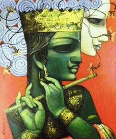 Dolna code: KIR010 Magic flute-3 by Kishore Roy. Acrylic on canvas, 40 x 30 (inches), Price INR 1,20,000