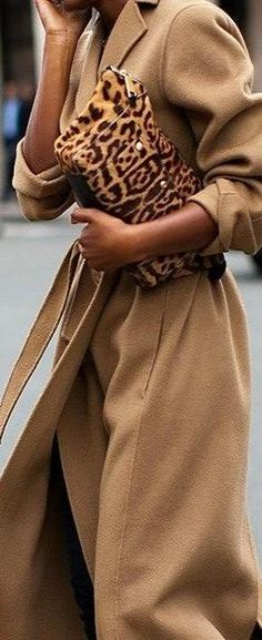 Camel Coat - Animal print clutch.