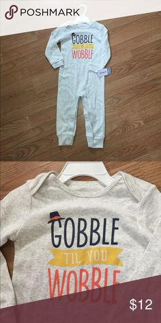 """NWT Thanksgiving Turkey long-sleeved romper 18M Cute """"Gobble 'til you Wobble"""" romper for Thanksgiving. Size is 18 months. Carter's One Pieces"""