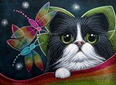 TUXEDO FAIRY CAT WITH RAINBOW DRAGONFLIES