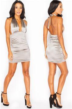 Karter Grey Harness Ruched Mini Dress